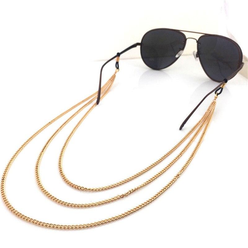 Модные аксессуары золотые металлические звеньевые цепи с многослойным покрытием оправы цепи рюмка держатель солнцезащитные очки ремень