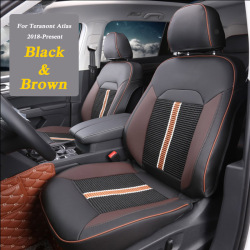 Car Styling Leather 4 Seasons Car Seat Covers Set For Volkswagen Teramont Atlas 2018-Present Seat Cover Cushion Accessories