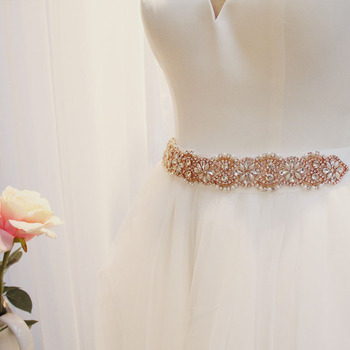 SLBRIDAL Rose Gold Pearls Wedding Belt Satin Rhinestones Evening Prom Dress Belt Bridal Ribbon Sash Women Wedding Accessories stylish rhinestones faux pearls rose gold bracelet for women
