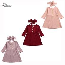 Детская одежда на весну и осень, Рождественская одежда для маленьких девочек, Одинаковая одежда, платье с длинными рукавами, твердые наряды в рубчик