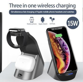 qi wireless charger 3 in 1 holder stand charger for watch apple watch series 4 3 2 iphone xs max xr 8 plus x 8 airpods 3 in 1 Wireless Charging Induction Charger Stand for iPhone X XS Max XR 8 Airpods Apple Watch 2 in 1 Docking Dock Station
