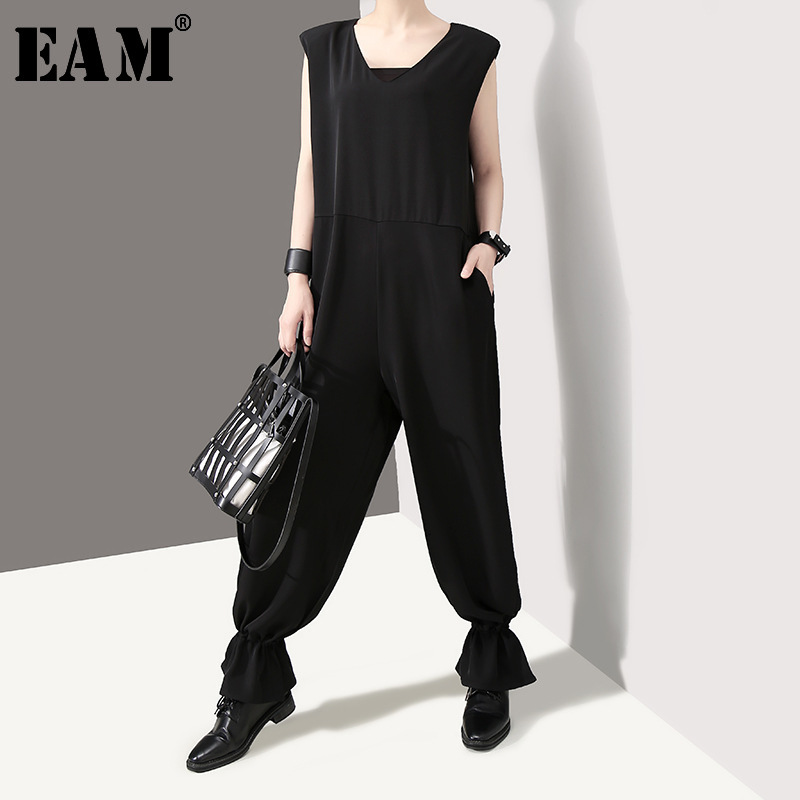 [EAM] 2019 New Spring Summer High Waist V-neck Pocket Stitch Loose Long Wide Leg Pants Women Jumpsuit  Fashion Tide  JU837