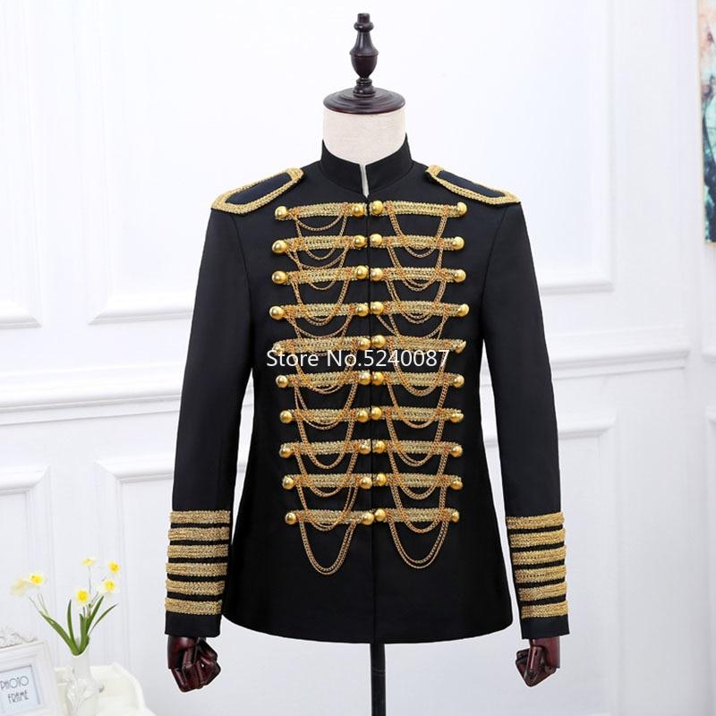 Prince européen Noble chevalier hommes seigneur de guerre vestes uniforme militaire discothèque DJ chanteur Stars Steampunk parti manteau Cosplay Costume