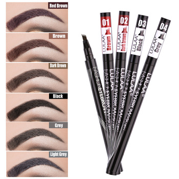 1 Pcs Four-headed eyebrow pencil Waterproof and sweat-proof black-brown liquid eyebrow pencil