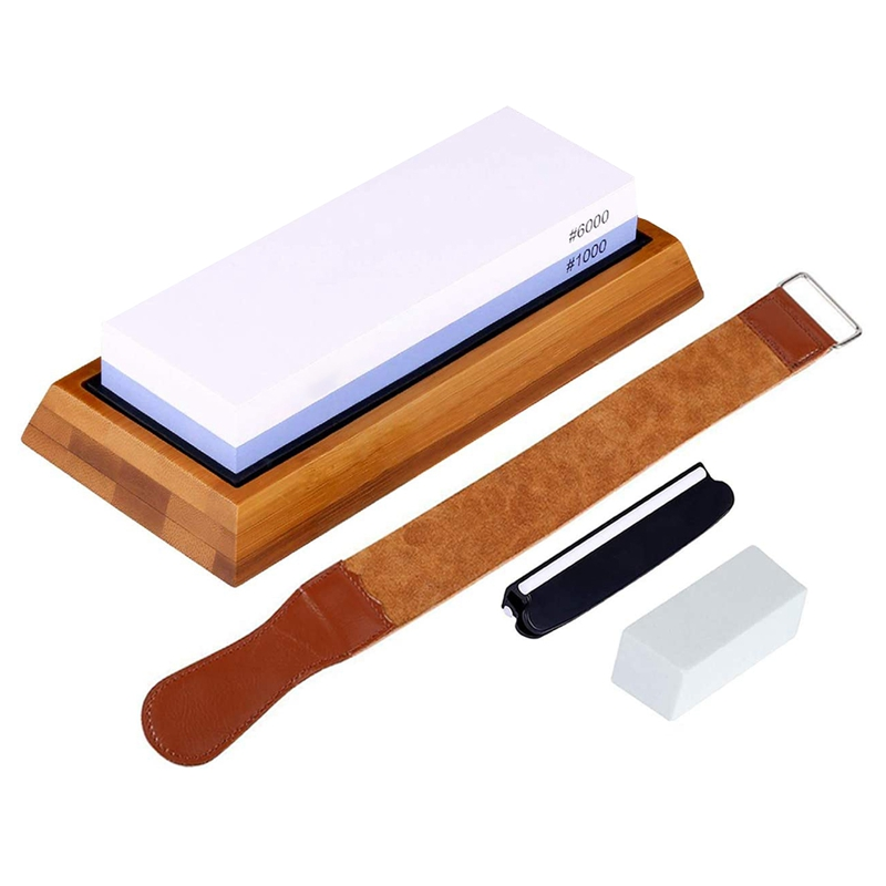 <font><b>Whetstone</b></font> 1000 6000-Knife Sharpening Stone - Best Knife Sharpening Kit with Angle Guide,Flattening Stone & Leather Strop image