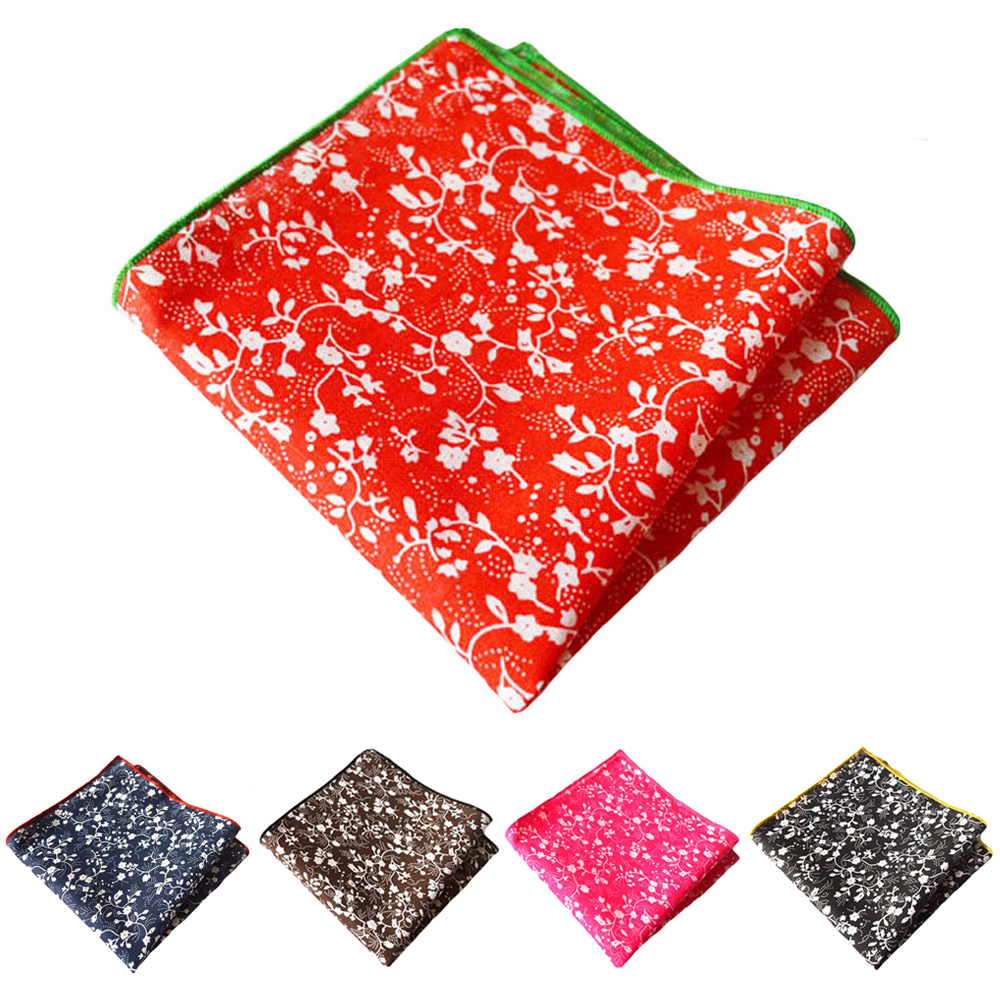 Mens Accessories Stylish Handkerchief Floral Printed Pocket Square Party Hanky