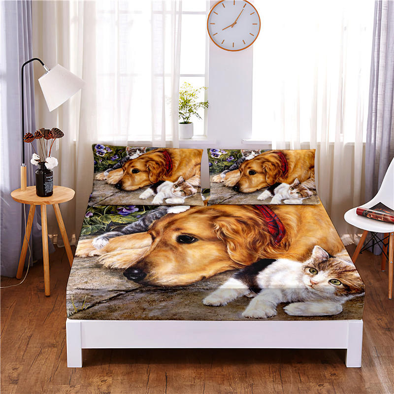 Cute Dog Digital Printed 3pc Polyester  Fitted Sheet Mattress Cover Four Corners with Elastic Band Bed Sheet Pillowcases
