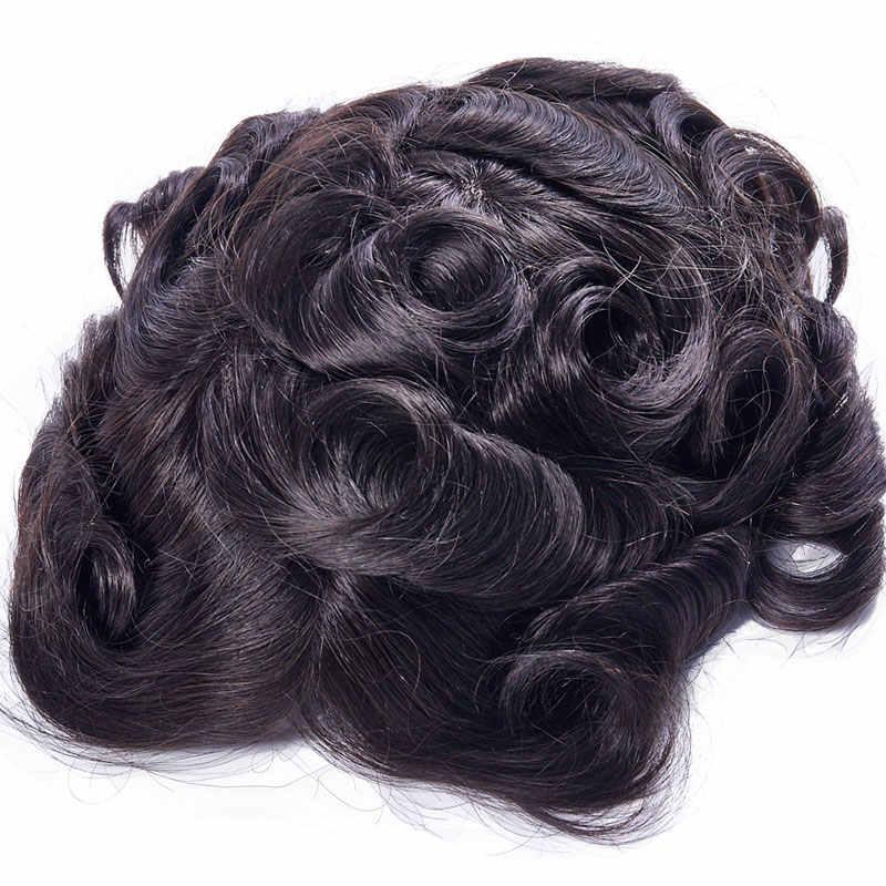 Mens peruk peruk değiştirme sistemleri postiş Mono dantel ile ince PU 8x10 doğal Remy hint İnsan saç el yapımı