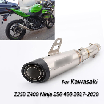 Exhaust Sets for 2017-2020 Kawasaki Z250 Z400 Motorcycle 51 mm Mid Exhaust Tail Pipe No DB Killer Escape Slip On Ninja 250 400