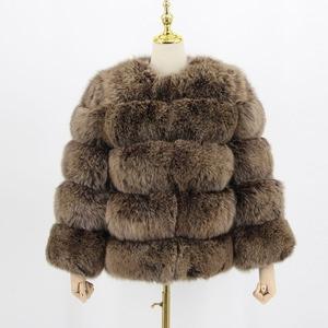 Image 5 - Abrigo de piel auténtica de zorro para mujer, moda de invierno, manga larga, rosa, QC8081, 2017