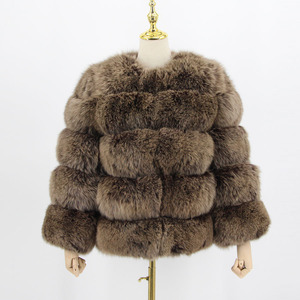 Image 5 - pink java QC8081 2017 new model women real fox fur coat long sleeves winter fashion fur  outfit high quality
