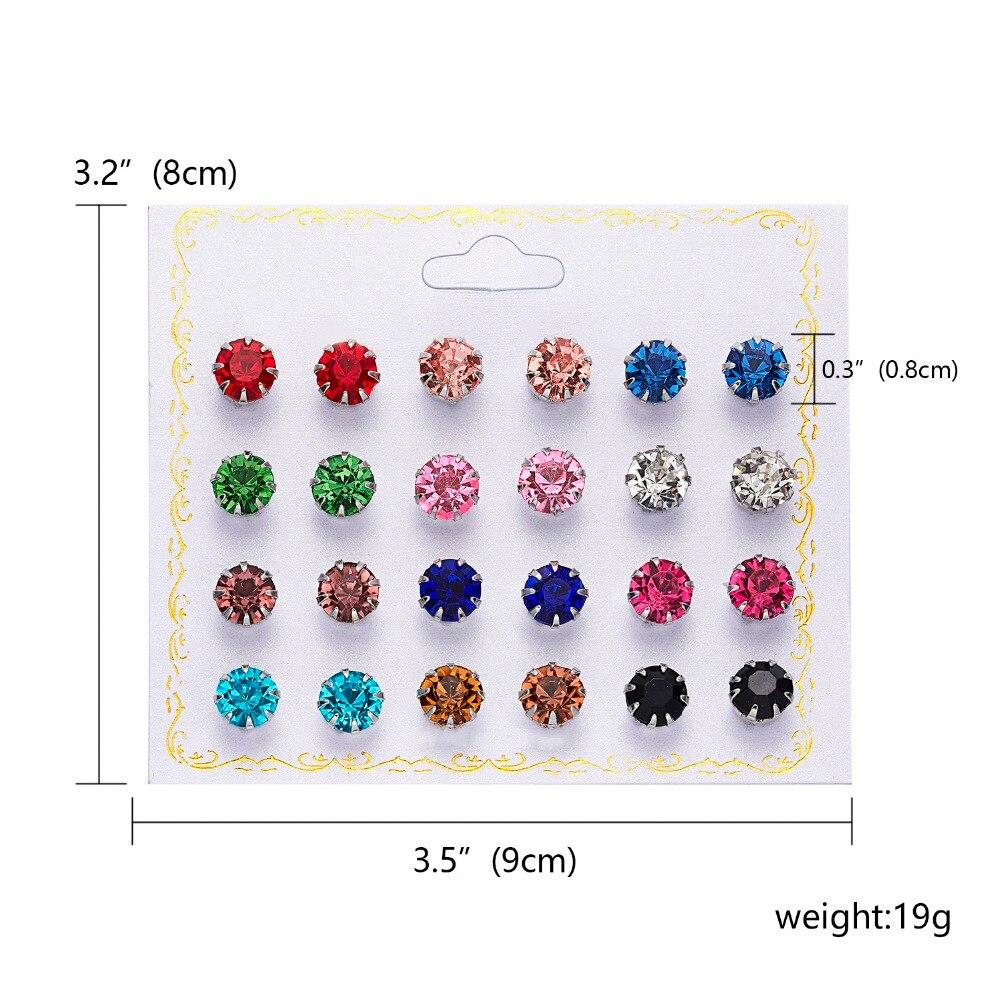 12 Pairs/set Stud Earrings Set With Card Transparent Zircon Balls Love Flowers Earrings Women Imulated Pearl Earrings Jewelry 62