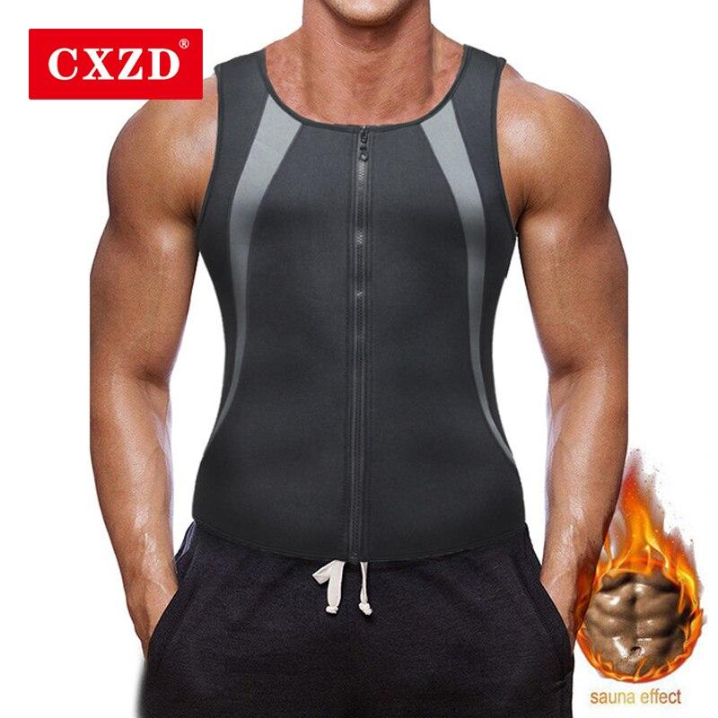 CXZD Men's Sauna Vest Hot Waist Trainer Zipper Corset Ultra Sweat Neoprene Corset Slimming Body Shaper Tank Top Body With Zipper