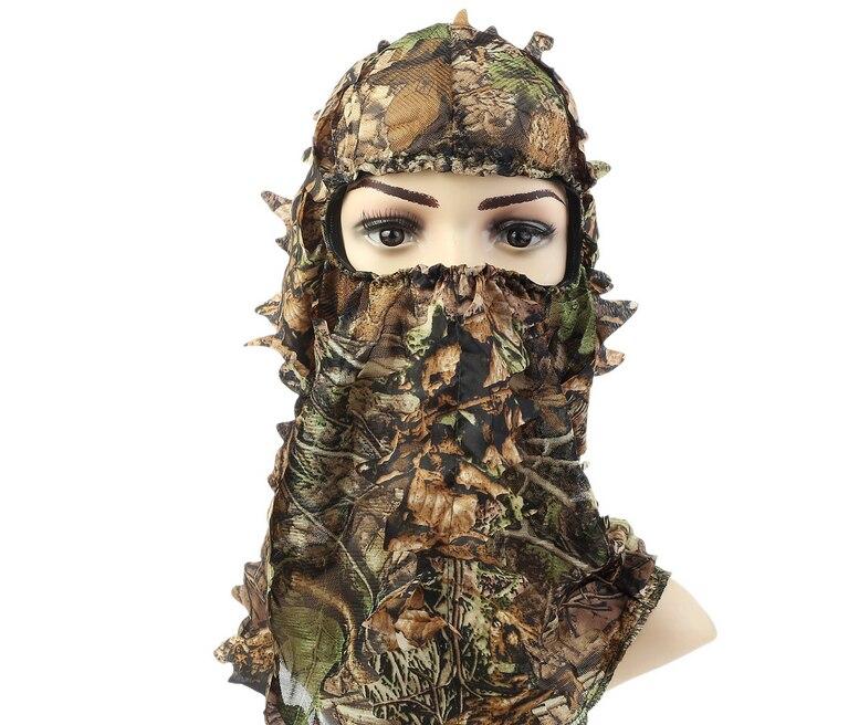 Camouflage A Foglia Verde Maschere di Caccia Ghillie Suit Sniper Tattica Camouflage Headvie Cappuccio A Foglia Verde Netto Spioncino di Apertura