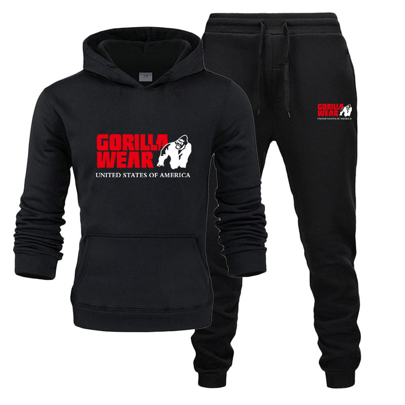 2020 New Brand Men  Hoodie Set Tracksuit Fashion GORILLA WEAR Sportswear Two Piece Sets All Cotton Thick Hoodie Pants