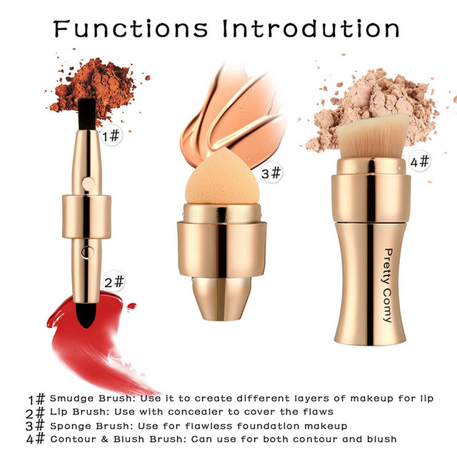 4 In 1 Makeup Brushes Foundation Eyebrow Shadow Eyeliner Blush Powder Brush Cosmetic Concealer Professional Maquiagem 2