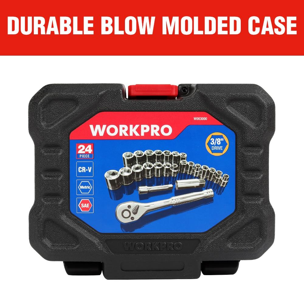 WORKPRO 24PC Tool Set Torque Wrench Socket Set 3/8″ Ratchet Wrench Socket Spanner