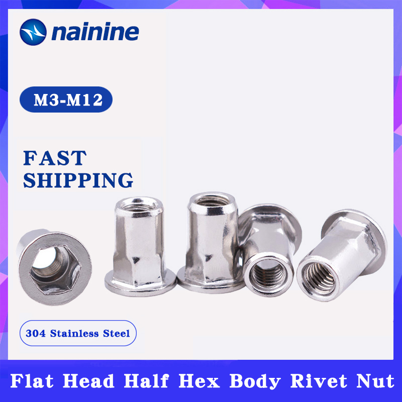 [M3 M4 M5 M6 M8 M10 M12] 304 Stainless Steel Rivnut Flat Head Half Hex Body Rivet Nut Insert Nutsert Cap rivet nut inserts nut insertrivet nut - AliExpress