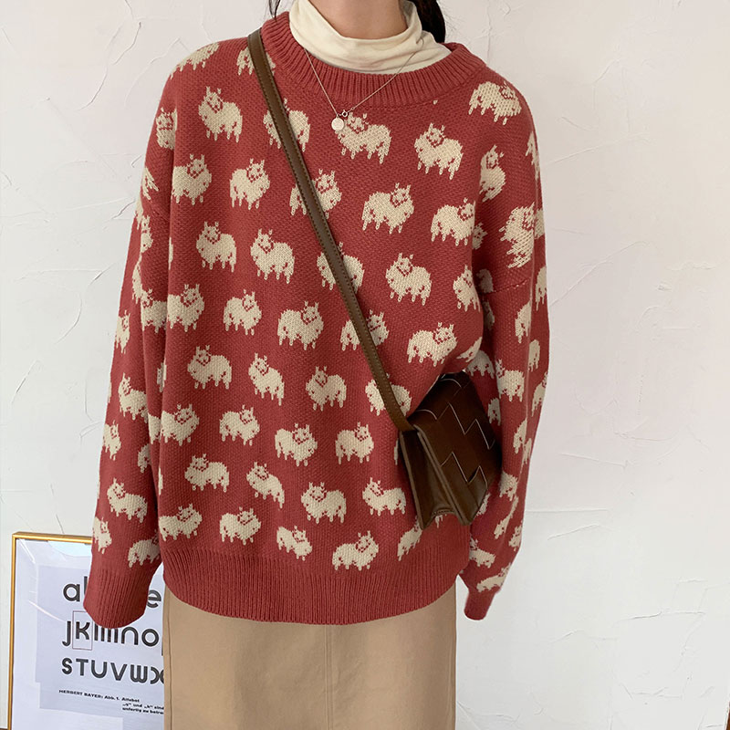 2 Colors Korean Chic Style Outwear Autumn And Winter Cartoon Sheep Funny Female Knitted Sweater And Pullovers Womens  (X1181)