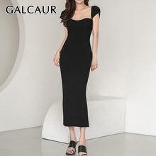 Женское винтажное платье с квадратным воротником galcaur облегающее