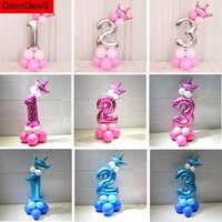 Globo de feliz cumpleaños, 1, 2, 3, 4, 5, 6 globos de aluminio, decoraciones para 1ª fiesta de cumpleaños, Baby Shower para niños, Baby Shower para niño y niña