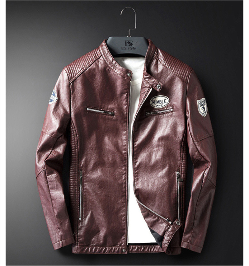 2020 Spring Mens Jackets Spring Motorcycle PU Slim Printed Mens Coats Casual Long Sleeve Male Leather Outerwear
