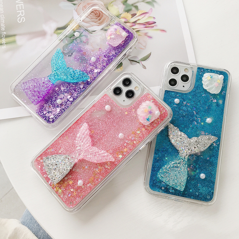 Sea Star Fish Rabbit Pearl Glitter Star Water Liquid Phone Case for iPhone 11 Pro X XS Max XR 6 6S 7 8 Plus 5 5S SE Soft Cover