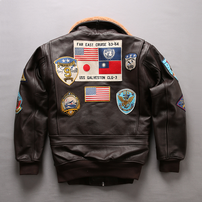 2020 Men A2 Pilot Jacket Tom Cruise Top Gun Air Force Cow Coats 100% Real Fashin Multi-label Thick Cowhide Winter Russia Coats