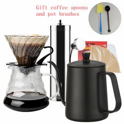 Filtr do kawy zestawy ceramiczne/szklane kroplówki dzbanek czajnik V60 szklany filtr do kawy wielokrotnego użytku filtr do kawy s w Szablony do ozdabiania kawy od Dom i ogród na
