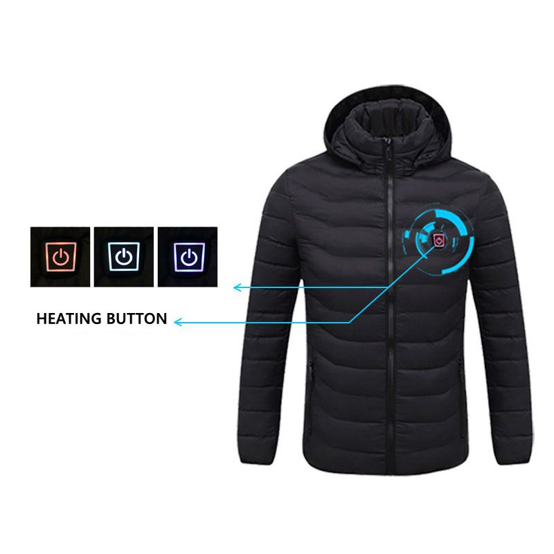 2020 NWE Men Winter Warm USB Heating Jackets Smart Thermostat Pure Color Hooded Heated Clothing Waterproof Warm Jackets|Parkas| - AliExpress