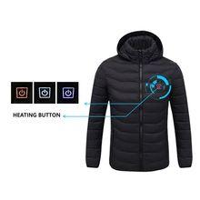 2020 NWE hombres invierno cálido USB chaquetas de calefacción termostato inteligente Color puro con capucha ropa caliente impermeable chaquetas