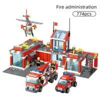 774pcs Fire Station Model Building Blocks Compatible Legoing City Construction Firefighter Truck Enlighten Bricks Toys Children
