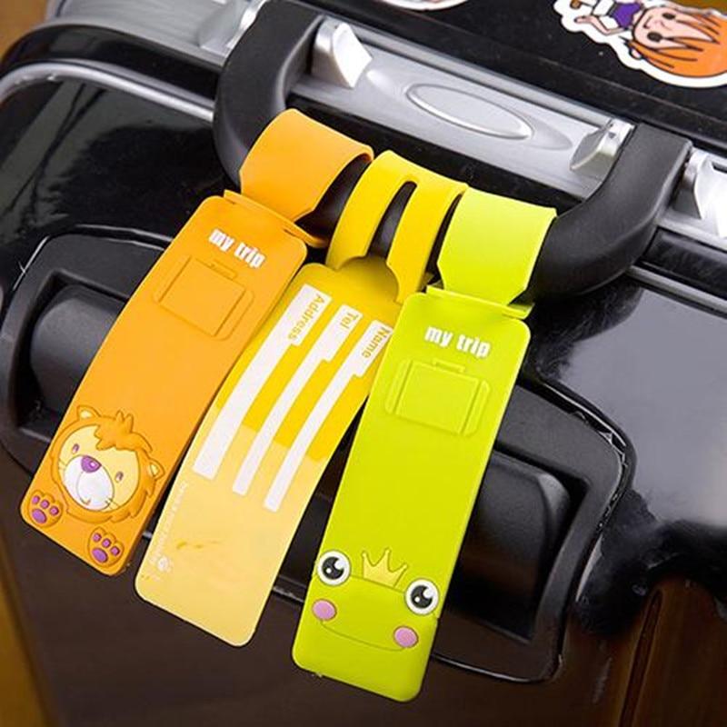 SANWOOD Korean Silicone Travel Luggage Tags Baggage Suitcase Bag Name Address Labels Luggage Tag Airplane Suitcase Label FASHION