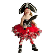 Fluffy Pirate Costume Girls Knee Length Bow Tulle Tutu Dress Girl Kids Lepin Pirates of The Caribbean Halloween with Hat