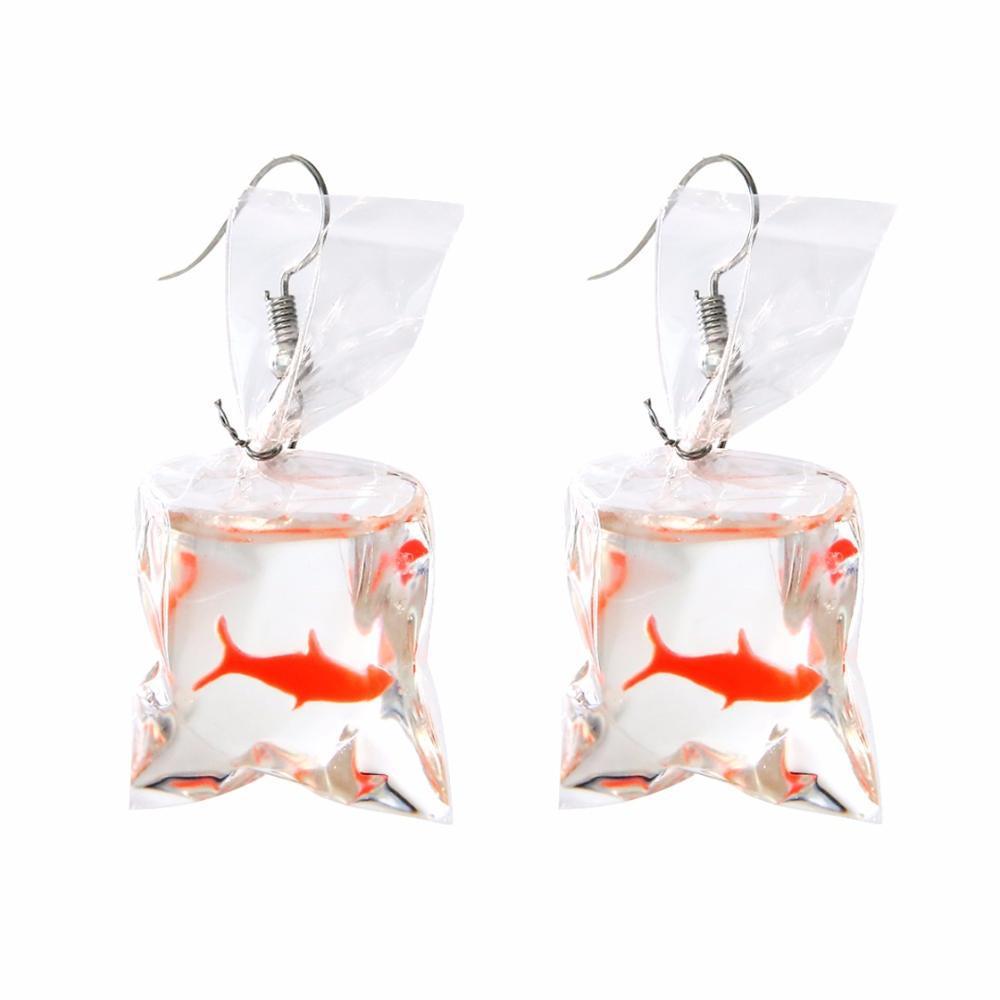 Fashion Creative Koi Fish goldfish Water Bag Dangle Earrings Cute Handmade Earrings Womens Jewelry