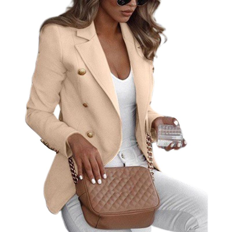 Womens Plus Size Long Sleeve Open Front Blazer Double Breasted Solid Color Thin Jacket Notched Lapel Collar Formal Coat S-5XL