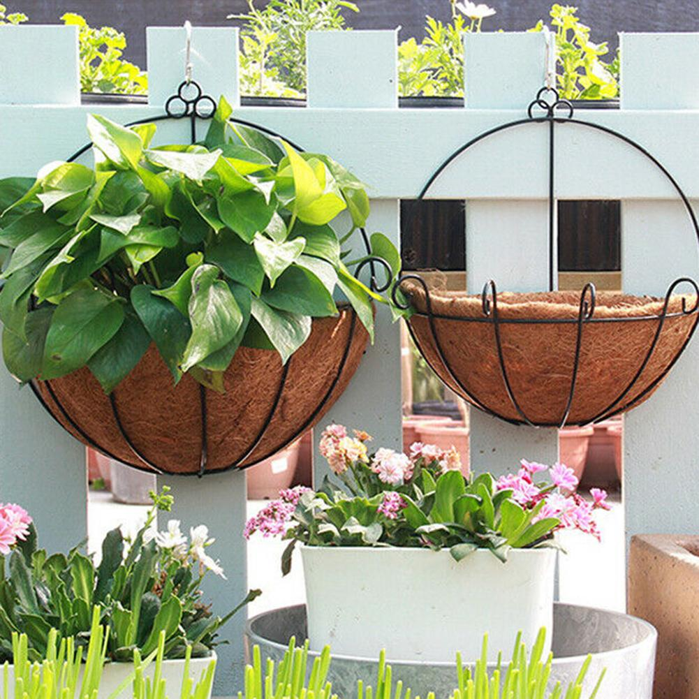 Wicker Rattan Flower Basket Plant Pot Plant Holder Home Wall Hanging Plant Basket Iron Style Wall-mounted Flower Pot Garden Deco