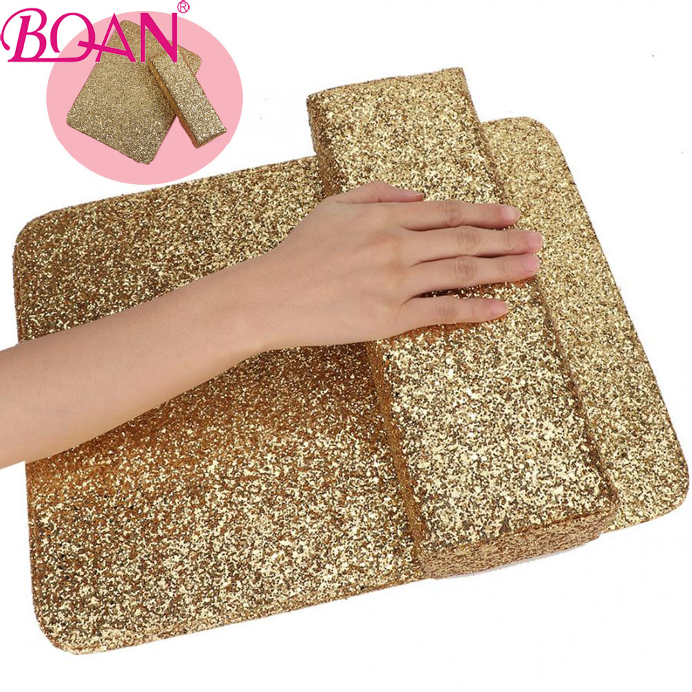 BQAN 1PC PU Leather Sequins Hand Cushion Pillow Nail Art Table Mart Hand Rests Arm Rest Holder Manicure Nail Art Accessories