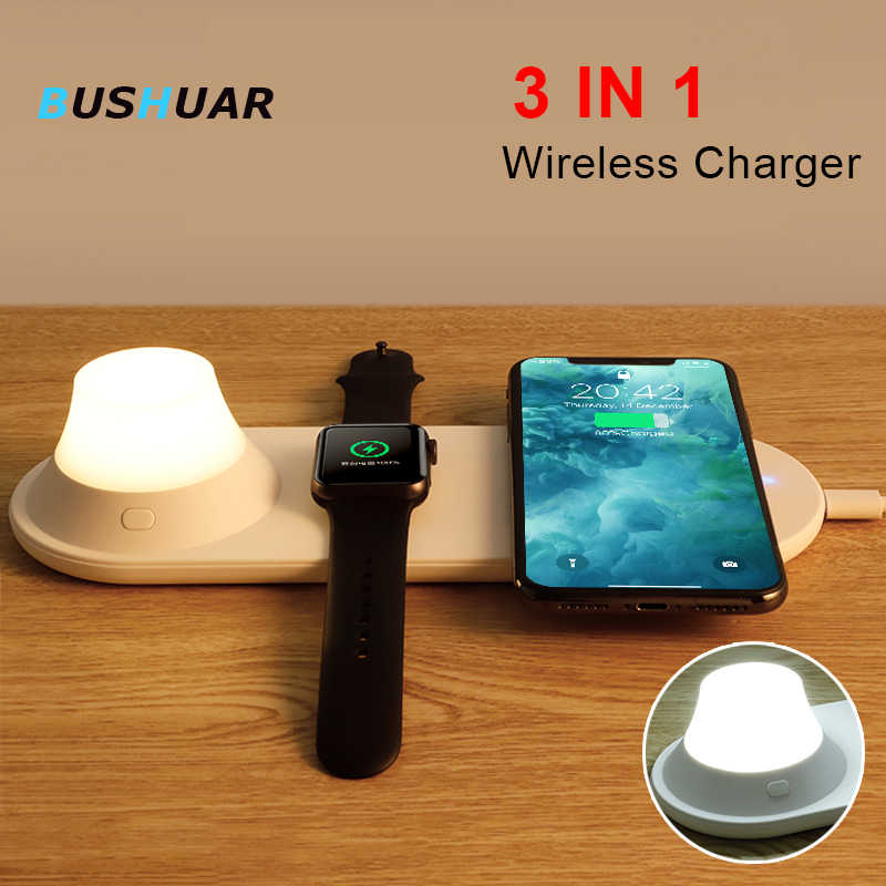 3 in 1 Wireless Charger Docking Station for iPhone 8 X XS Max XR for Apple Watch 4 3 2 1 10W Fast Charger pad For Samsung S10 S9