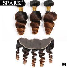 Faísca brasileira feixes de tecer cabelo humano onda solta cabelo humano pacotes com frontal ombre 100% remy cabelo humano médio relação