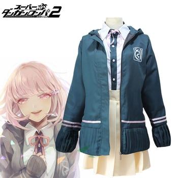 Anime Danganronpa 2 Cosplay Costume Chiaki Nanami Uniforms Women Outfit Full Set Coat + Shirt + Tie + Skirt + Socks persona 5 futaba sakura shirt coat jacket cosplay costume full set