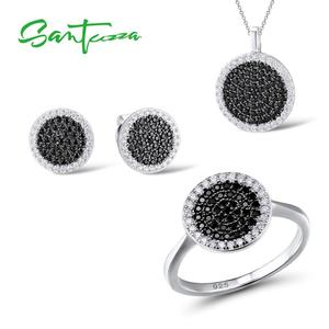 Image 2 - SANTUZZA Silver Jewelry Set For Women Blue Black CZ Round Circle Ring Earrings Pendant Set 925 Sterling Silver Fashion Jewelry