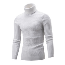 Slim Turtleneck Men Sweater Korean Long Knitted Pullover Cotton Red/White Winter 2019