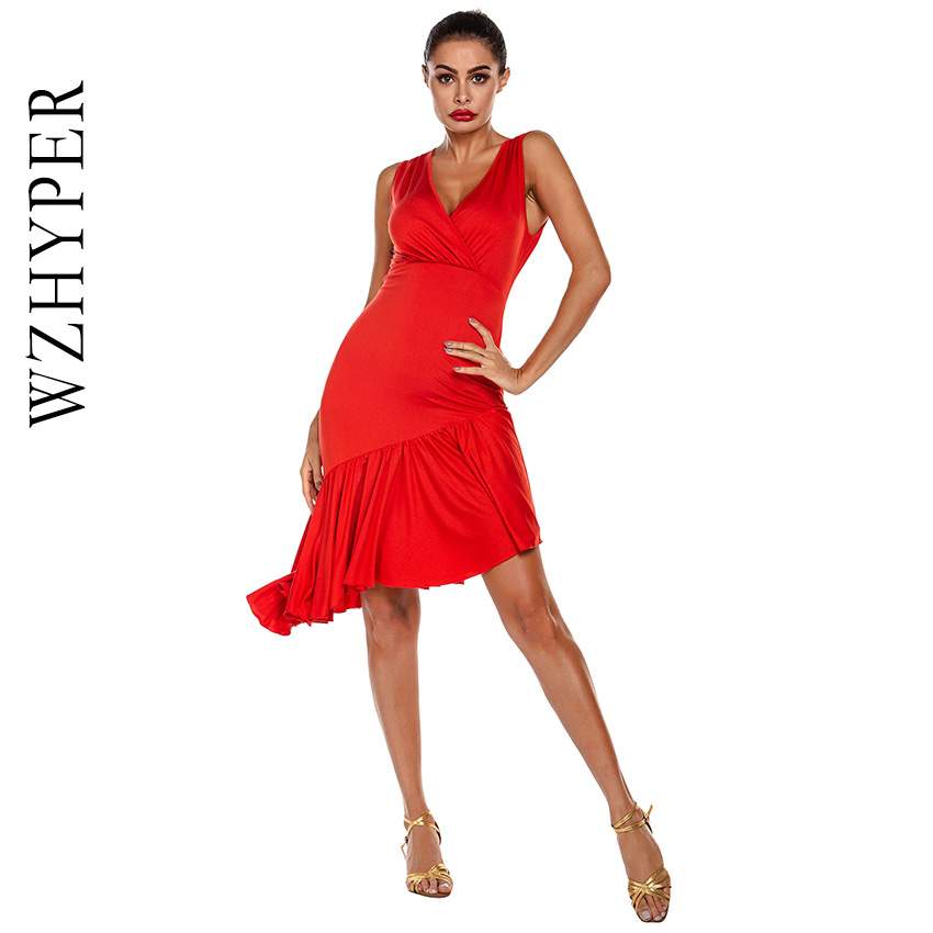 2020 New Girls Adult Modern Ballroom Latin Dance Dress Salsa Tango Dance Wear Red Black Pleat Performance Stage Wear