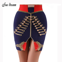 High quality 2019 summer new women's fashion sexy blue button bodycon mini bandage skirt club party skirt vestidos