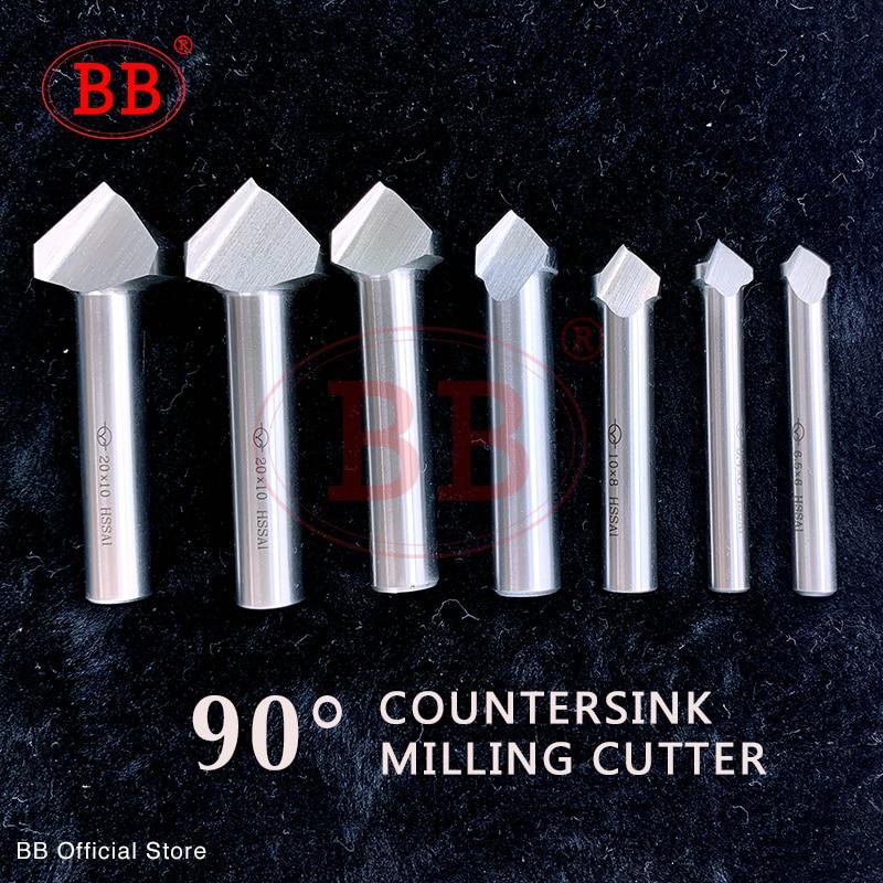BB 90 Degree Countersink HSS Chamfering Metal Milling Tool 1 3 Flute Cutter Orifice Rose Cove Drill