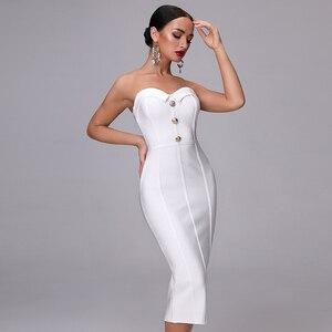 Image 3 - 2020 חדש קיץ תחבושת שמלה אלגנטי לבן סקסי Bodycon גבירותיי כפתור סטרפלס סקסי אופנה מועדון מסיבת עגל שמלה
