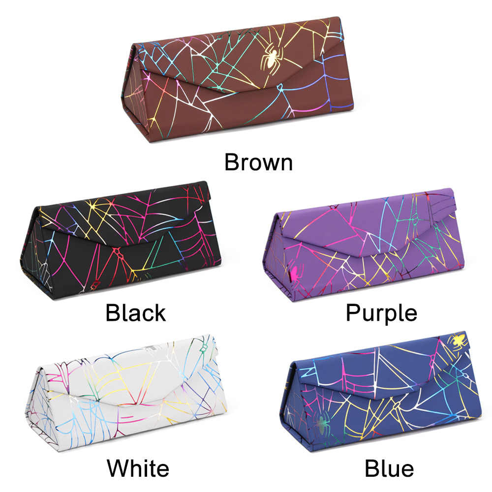 Moda unisex plutônio à prova dwaterproof água forte ímã caso óculos de sol dobrável caixa padrão aranha triângulo portátil caixa