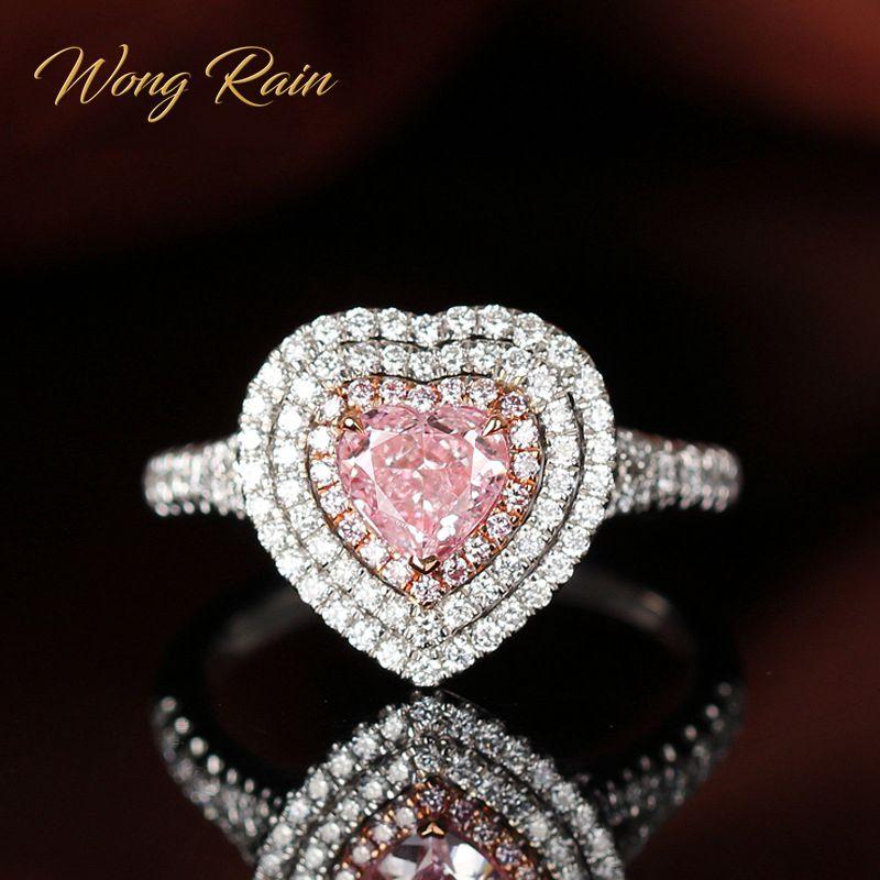Wong Rain Romantic Cute 100% 925 Sterling Silver Pink Sapphire Gemstone Wedding Engagement Diamonds Ring Fine Jewelry Wholesale