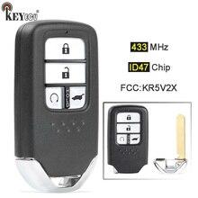 KEYECU 433.92MHz ID47 Chip FCC: KR5V2X  A2C83162500 Replacement 4 Button Smart Remote Car Key Fob for Honda Pilot